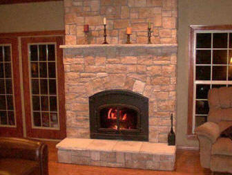 Charlotte nc fireplace refacing stone tile 2019 we do it - Tile over brick fireplace ...