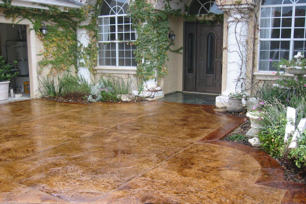 Pour Install Stamped Stained Concrete Driveway/Patio Floor Cost Around  Pools Overlay Colored Cement Company Garage Floors Repair Old New Replace  Concrete ...