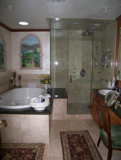 Budget bathroom remodel shower we do it all low cost for Bathroom floor repair contractor