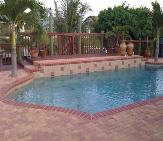 Install repair swimming pool pavers brick concrete flagstone contractors cost replace pools for Swimming pool renovation costs